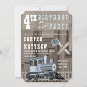Rustic Train Railroad Crossing 4th Birthday Party Invitation