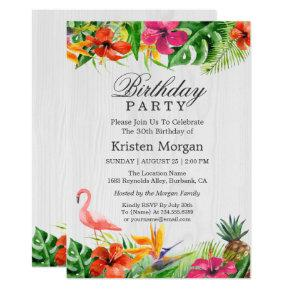 Rustic Tropical Floral Flamingo Birthday Party Invitation