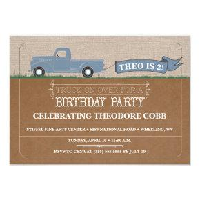 Rustic Truck Boy Birthday Party Invitations