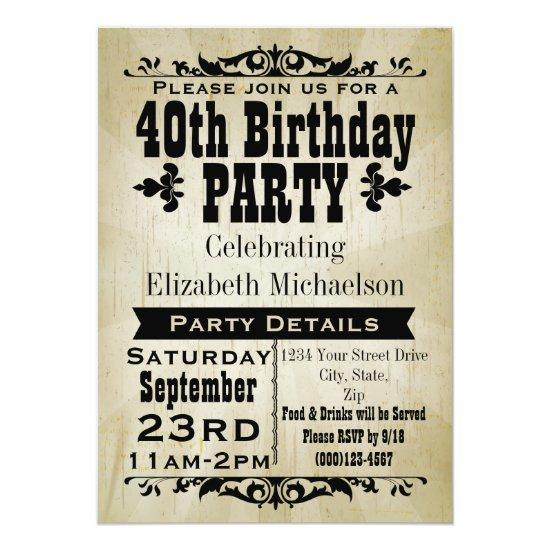 Rustic Vintage 40th Birthday Party Invitation Candied Clouds