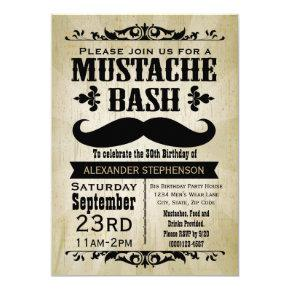 Rustic Vintage Mustache Bash Party Invitations