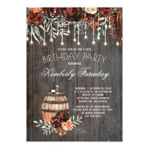 Rustic Winery Floral Lights Birthday Party Invitation