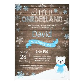 Rustic Winter Onederland 1st Birthday Invitation