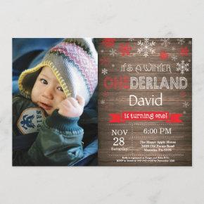 Rustic Winter Onederland 1st Birthday Invitation
