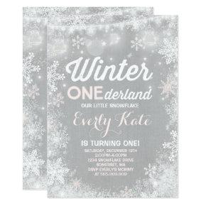 Rustic Winter ONEderland Birthday Invitation