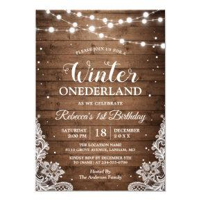 Rustic Winter ONEderland Lace Baby First Birthday Invitations