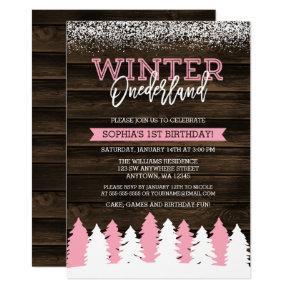 Rustic Winter Onederland Pink 1st Birthday Invite