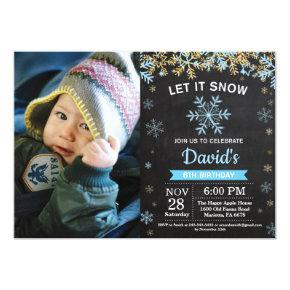 Rustic Winter Snowflake Blue Gold Boy Birthday Invitations