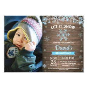 Rustic Winter Snowflake Blue Silver Boy Birthday Invitations