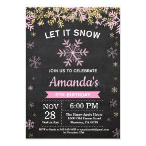 Rustic Winter Snowflake Pink Gold Girl Birthday Invitations