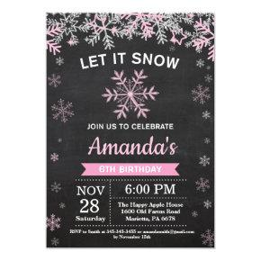 Rustic Winter Snowflake Pink Silver Girl Birthday Invitations
