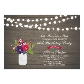 Rustic Wood 60th Surprise Birthday Party Invitations