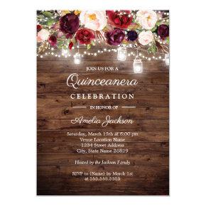 Rustic Wood Burgundy Floral Lights Quinceanera Card