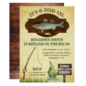 Rustic Wood Burlap Fishing Birthday Party Invite