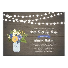 Rustic Wood & Mason Jar 50th Birthday Invitations