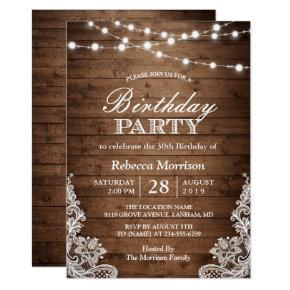 Rustic Wood String Lights Lace Birthday Party Invitations