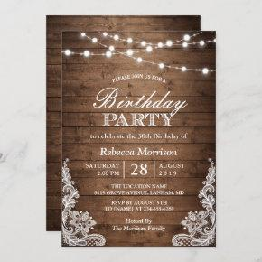 Rustic Wood String Lights Lace Birthday Party Invitation