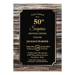 Rustic Wood Surprise 50th Birthday Dinner Invitation