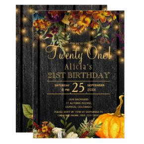 Rusty autumn floral chic twenty one birthday invitation
