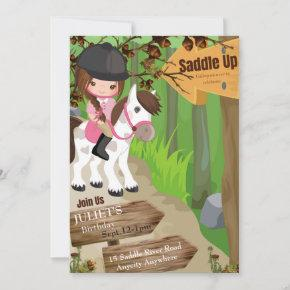Saddle Up Birthday Invitation 1 (Girl)