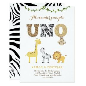 Safari 1st Birthday Invite in Spanish, 1er cumple