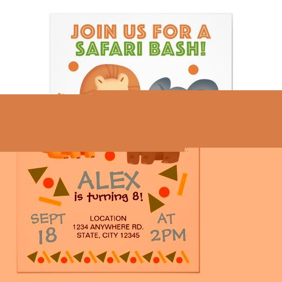 Safari Animal Themed Birthday Party Design Invitation