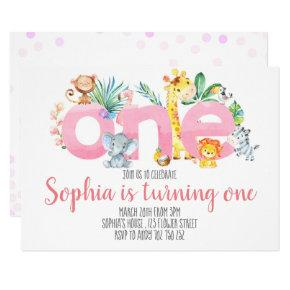 Safari Animals Jungle Pink Girl 1st First Birthday Invitation