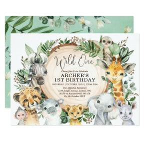Safari Animals Wild One 1st Birthday Jungle Party Invitation