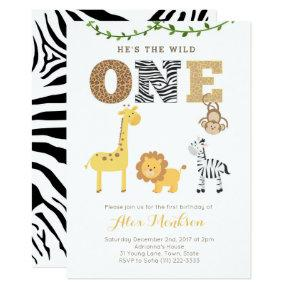 Safari animals zoo First Birthday Party Invitations