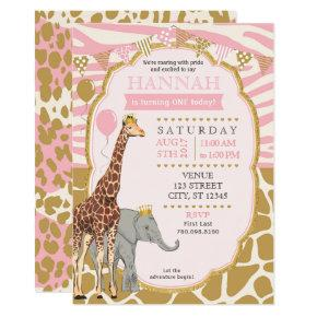 Safari Birthday Invitations - Pink