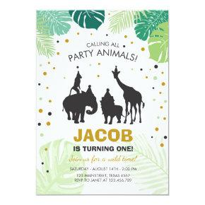 Safari Birthday Invitation Zoo Wild Jungle animals