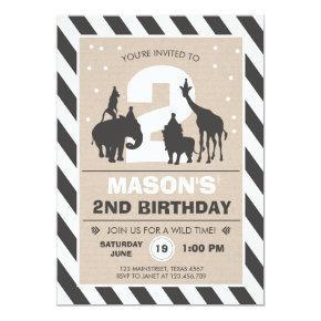 Safari Birthday Invitations Zoo Wild Jungle animals