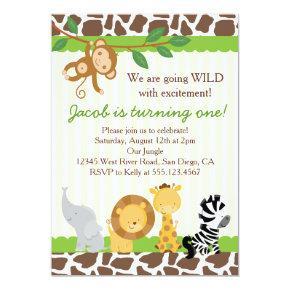 Safari Boy 1st Birthday Party Invitations