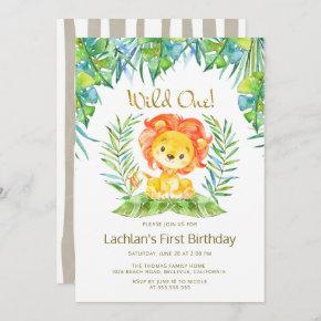Safari Cute Lion Wild One 1st Birthday Party Invitation
