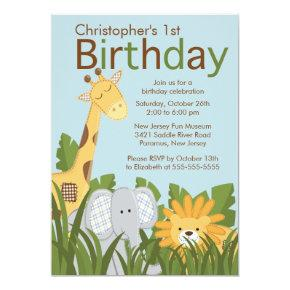 Safari Jungle Animal Kid Birthday Party Invitation