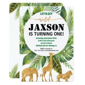 Safari jungle birthday invitation for boy wild one