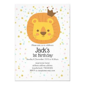 safari lion jungle lion, animal illustration invitation
