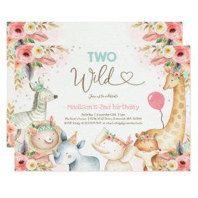 Safari Two Wild Birthday Invitation Boho Two Wild