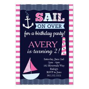 Sail Away Girl's Nautical Birthday Invitations