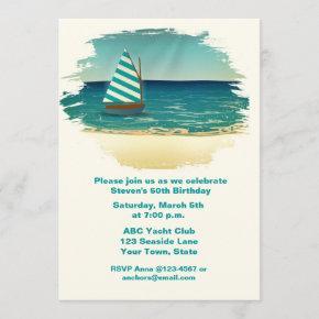 Sailboat and Sea Invitation