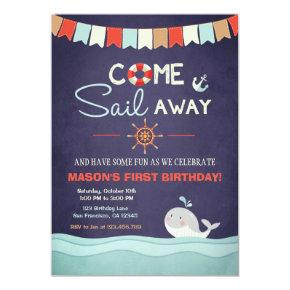 Sailor Birthday Invation Come Sail Away Nautical Invitation