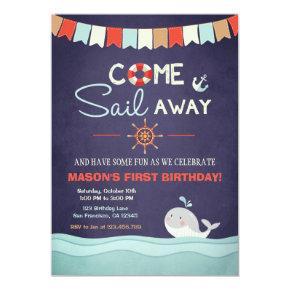 Sailor Birthday Invation Come Sail Away Nautical Invitation