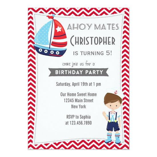 Sailor Boy Birthday Invitation Nautical Red Candied Clouds
