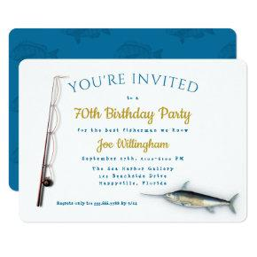 Saltwater Fishing Adult Male Birthday Party Invitation
