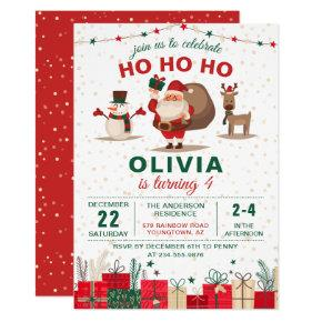 Santa Claus Party Christmas Holiday Birthday Invitation