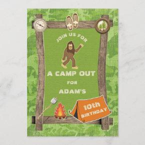 Sasquatch and Camo Camp Out Birthday Party Invitation