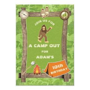 Sasquatch and Camo Camp Out Birthday Party Invitations