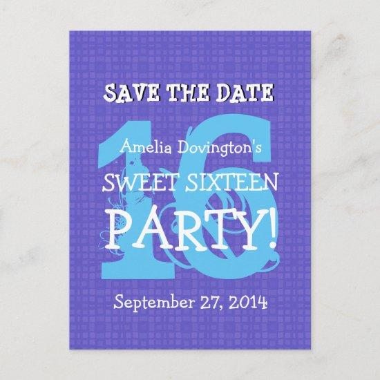 Save Date Sweet 16 Purple Blue Birthday Party V06 Announcement Post