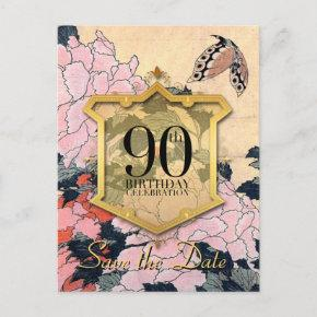 Save the Date 90th Birthday Butterfly Peonies P Announcement Postcard