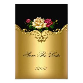 Save The Date Cream Pink Gold Black Roses Card